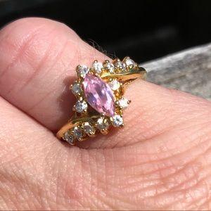🆕List! VTG Pink Topaz & Zirconia Ring! EUC!